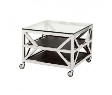 Casa Padrino Luxus Art Deco Designer Beistelltisch mit Glasplatte 65 x 65 x H. 50 cm - Luxus Kollektion
