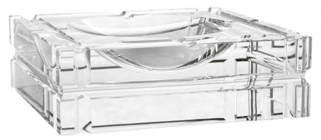 Casa Padrino Designer Kristallglas Aschenbecher 21 x 21 x H. 6, 7 cm - Luxus Edition