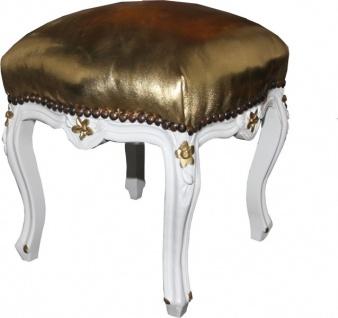Casa Padrino Barock Fußhocker Gold Lederoptik / Weiß - Antik Stil Möbel - Hocker - Limited Edition