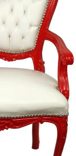 Casa Padrino Luxus Barock Esszimmer Stuhl mit Armlehnen Weiß / Rot - Handgefertigter Küchen Stuhl mit edlem Kunstleder - Barock Esszimmer Möbel - Vorschau 3