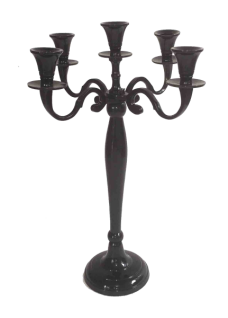 Casa Padrino Designer Kerzenhalter Aluminium Schwarz 5-armig Höhe 40.5 cm - Kerzenständer