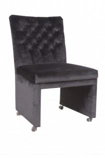 Casa Padrino Designer Esszimmer Stuhl / Sessel ModEF 320 Schwarz Samt - Hoteleinrichtung - Sessel auf Rollen - Vorschau 2