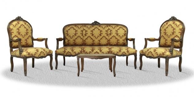 Casa Padrino Antik Stil Salon Set mit Sitzbank 2 Stühlen und Tisch - Barock Möbel Set
