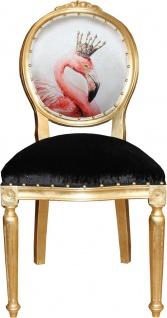 Casa Padrino Barock Luxus Esszimmer Stuhl ohne Armlehnen Flamingo mit Krone und mit Bling Bling Glitzersteinen - Designer Stuhl - Limited Edition