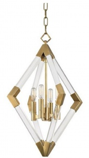 Casa Padrino Luxus Hängeleuchte Antik Messingfarben 43, 8 x 43, 8 x H. 61 cm - Pendelleuchte mit Acryl-Diamantrahmen und Metallakzenten