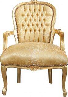 Casa Padrino Barock Salon Stuhl Gold Muster / Gold