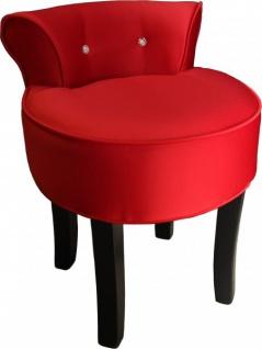 Casa Padrino Designer Hocker Boston Rot/Schwarz mit Bling Bling Steinen - Barock Schminktisch Stuhl - Vorschau 3