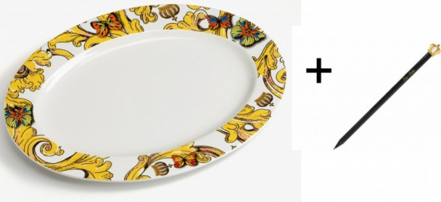 Harald Glööckler Porzellan Platte oval 35 x 25 cm + Luxus Bleistift von Casa Padrino - Barock Dekoration