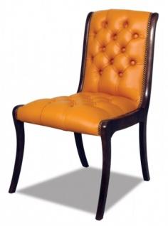 Casa Padrino Echtleder Esszimmerstuhl Orange / Dunkelbraun 50 x 47 x H. 95 cm - Luxus Möbel