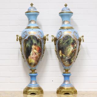 Casa Padrino Luxus Porzellan Vasen Set Hellblau / Gold 30 x H. 100 cm - Dekorationen im Barockstil