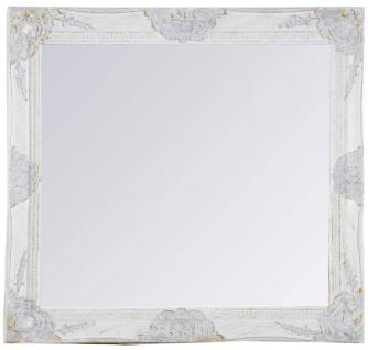 Casa Padrino Barock Wandspiegel Weiss Höhe 62 cm, Breite 52 cm - Vintagelook - Handgefertigt - Facettenschliff