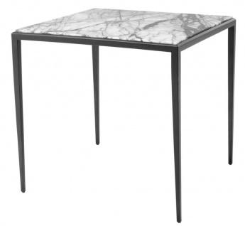 Casa Padrino Beistelltisch in bronze mit weißer Marmorplatte 60 x 60 x H. 58 cm - Luxus Wohnzimmermöbel