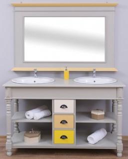 Casa Padrino Landhausstil Badezimmer Set Grau / Naturfarben / Mehrfarbig - 1 Doppelwaschtisch & 1 Wandspiegel - Massivholz Badezimmermöbel im Landhausstil