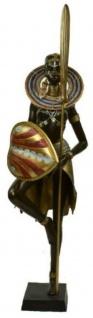 Casa Padrino Luxus Deko Bronze Skulptur Massai Kriegerin Schwarz / Mehrfarbig / Gold 57 x 45 x H. 170 cm - Große Bronzefigur mit Sockel - Hotel & Restaurant Dekofigur - Luxus Qualität