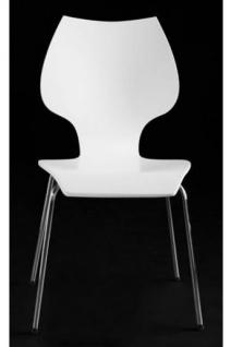 Designer Stuhl aus Holz und verchromtem Stahl Weiß, Esszimmerstuhl, moderner Wohnzimmerstuhl