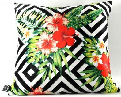 Casa Padrino Luxus Deko Kissen Miami Flowers & Leaves Schwarz / Weiß / Mehrfarbig 45 x 45 cm - Feinster Samtstoff - Luxus Qualität