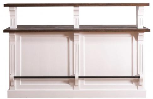 Casa Padrino Landhausstil Theke mit 3 Schubladen Weiß / Dunkelbraun 180 x 68 x H. 120 cm - Landhausstil Möbel