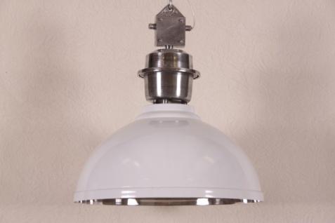 Casa Padrino Vintage Industrie Hängeleuchte Epoxy Weiß Metall Durchmesser 52 cm - Restaurant - Hotel Lampe Leuchte - Industrial Leuchte