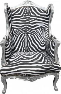 Casa Padrino Barock Lounge Thron Sessel Ohrensessel Zebra / Silber - Limited Edition