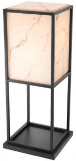Casa Padrino Luxus Stehleuchte Schwarz / Alabasterfarben 45 x 45 x H. 114, 5 cm - Moderne Wohnzimmer Lampe - Luxus Kollektion