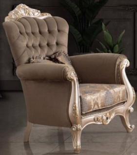 Casa Padrino Luxus Barock Wohnzimmer Sessel mit Kissen Taupe / Bronze / Gold 95 x 75 x H. 120 cm - Barock Möbel