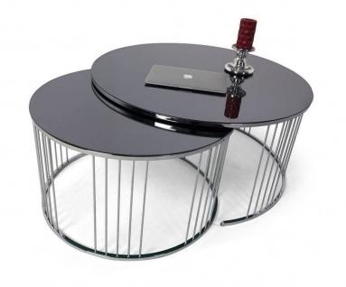 Casa Padrino Luxus Couchtisch Set Silber / Schwarz - 2 runde Wohnzimmertische mit Glasplatte - Wohnzimmer Möbel - Luxus Kollektion