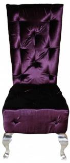 Casa Padrino Barock Esszimmer Stuhl Lila / Silber - Designer Stuhl - Luxus Qualität Hochlehner Hochlehnstuhl