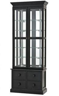 Luxus Glasvitrine mit Schubladen Ladeneinrichtung Shop & Hotel Möbel Empo - Luxus Kategorie - Eichenholz - Black Antique Finish - Schrank Vitrine