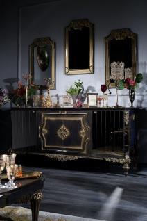Casa Padrino Luxus Barock Wohnzimmer Set Blau / Gold / Schwarz - Sideboard und 3 Spiegel - Barockmöbel