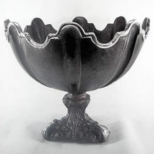 Casa Padrino Barock Schüssel Aluminium Schwarz / Silber H. 30, Durchmesser 36 cm - Antik Stil
