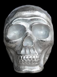 Casa Padrino Designer Skull Mod1S silber Höhe 13 cm, Breite 9 cm, Tiefe 16, 5 cm, Totenkopf - edle Skulptur aus Aluminium vernickelt - Vorschau 2