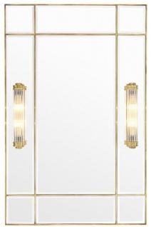 Casa Padrino Luxus Wandspiegel mit Licht Vintage Messingfarben 90 x 13 x H. 140 cm - Luxus Qualität