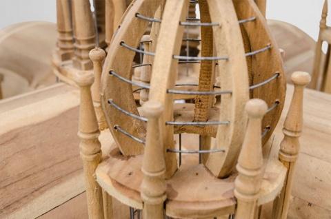 Casa Padrino Barock Vogelpalast handgeschnitzt aus Mahagoniholz H190cm - Vogelhaus Vogelkäfig Antik Stil - Vorschau 3