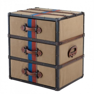 Casa Padrino Luxus Schubladen Schrank im Vintage Koffer Design Kahki Canvas / Leder - 3 Schubladen - Art Deco Barock Jugendstil Kofferschrank Nachtschrank