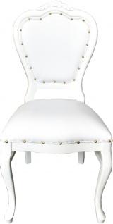 Casa Padrino Barock Luxus Esszimmer Stuhl Weiß Kunstleder / Weiß - Handgefertigte Möbel