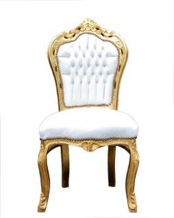 Casa Padrino Barock Esszimmer Stuhl Weiß / Gold - Möbel Antik Stil