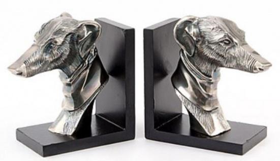 Casa Padrino Buchstützen Set Hundeköpfe Antik Silber / Schwarz 20 x 19, 5 x H. 10 cm - Luxus Deko Accessoires