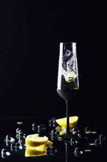 Casa Padrino Luxus Champagnerglas 6er Set Schwarz / Gold Ø 6, 5 x H. 26, 5 cm - Handgefertigte und handbemalte Champagnergläser - Hotel & Restaurant Accessoires - Luxus Qualität