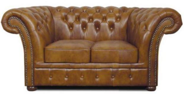 Casa Padrino Chesterfield Echtleder 2er Sofa Braun 170 x 90 x H. 80 cm - Luxus Wohnzimmermöbel