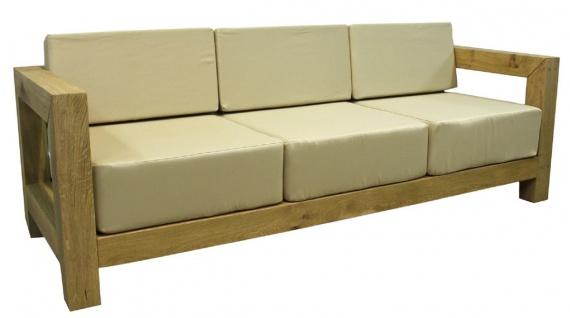 Casa Padrino Luxus Massivholz Gartenmöbel Set Beige / Naturfarben - 3 Sofas & 1 Couchtisch - Moderne Eichenholz Garten & Terrassen Möbel - Vorschau 4