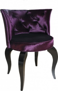 Casa Padrino Barock Salon Stuhl Lila / Schwarz - Designer Sessel - Luxus Qualität