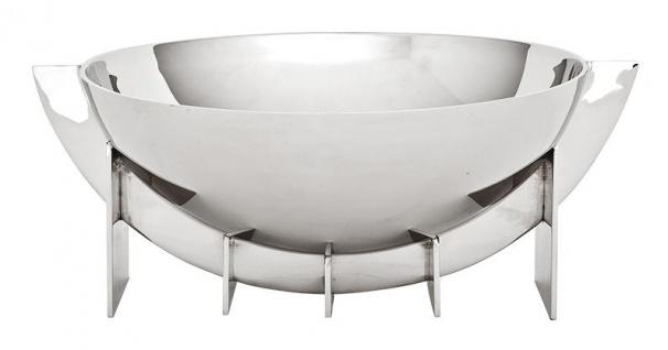 Casa Padrino Designer Edelstahl Schale 30 x 25 x H. 11, 5 cm - Luxus Qualität