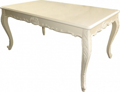 Casa Padrino Barock Esstisch Creme Hochglanz 160 x 100 cm - Esszimmer Tisch - Barock Möbel