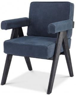 Casa Padrino Luxus Echtleder Esszimmerstuhl mit Armlehnen Blau / Schwarz 64 x 70 x H. 87, 5 cm - Küchenstuhl mit edlem Nubuk Büffelleder - Luxus Esszimmer Möbel