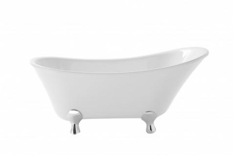 Casa Padrino Art Deco Badewanne freistehend Weiß Modell He-Gra 1550mm - Freistehende Retro Antik Badewanne Barock Jugendstil