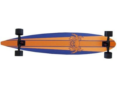 Paradise Longboard Skateboard Stripes & Skull Orange Pintail 47, 75x9 inch
