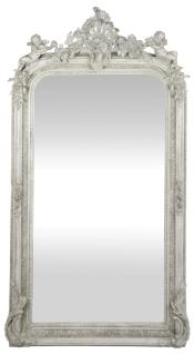 Casa Padrino Barock Wandspiegel Antik Weiß 85 x H. 160 cm - Prunkvoller Barock Spiegel mit wunderschönen Verzierungen und dekorativen Engelsfiguren