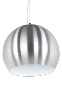 Designer Pendelleuchte aus gebürstetem Aluminium, Silber/Weiß, Leuchte Lampe