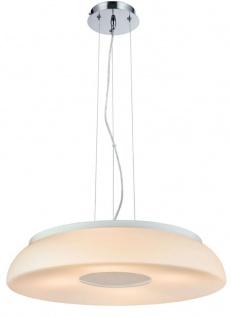 Casa Padrino Luxus Hängeleuchte Weiß / Silber Ø 50 x H. 10 cm - Wohnzimmer Hängelampe