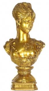 Casa Padrino Barock Damen Büste Gold 37 x 22 x H. 70 cm - Dekofigur im Barockstil